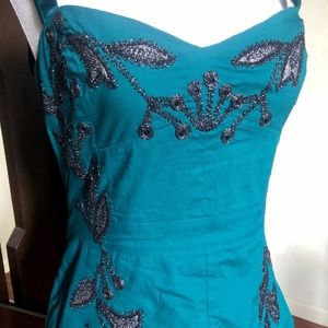 Free People Teal Embroidered Leaf Cocktail Dress